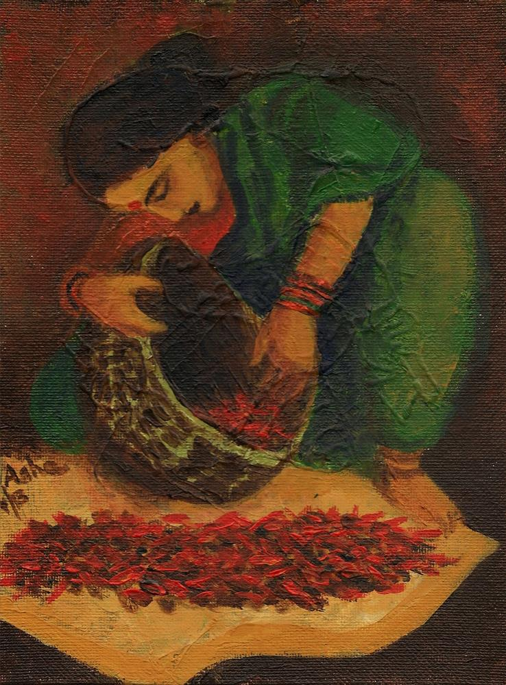 """Woman drying red pepper in the sun."" original fine art by Asha Shenoy S"