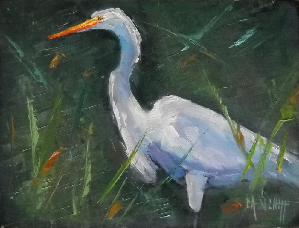 """Wildlife Painting, Egret Painting, You cannot see me by Carol Schiff, 6x8 Oil"" original fine art by Carol Schiff"