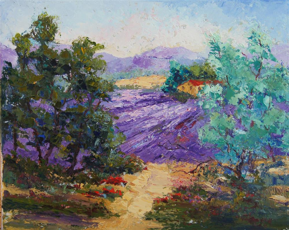 """Looking through to the lavender"" original fine art by Marion Hedger"