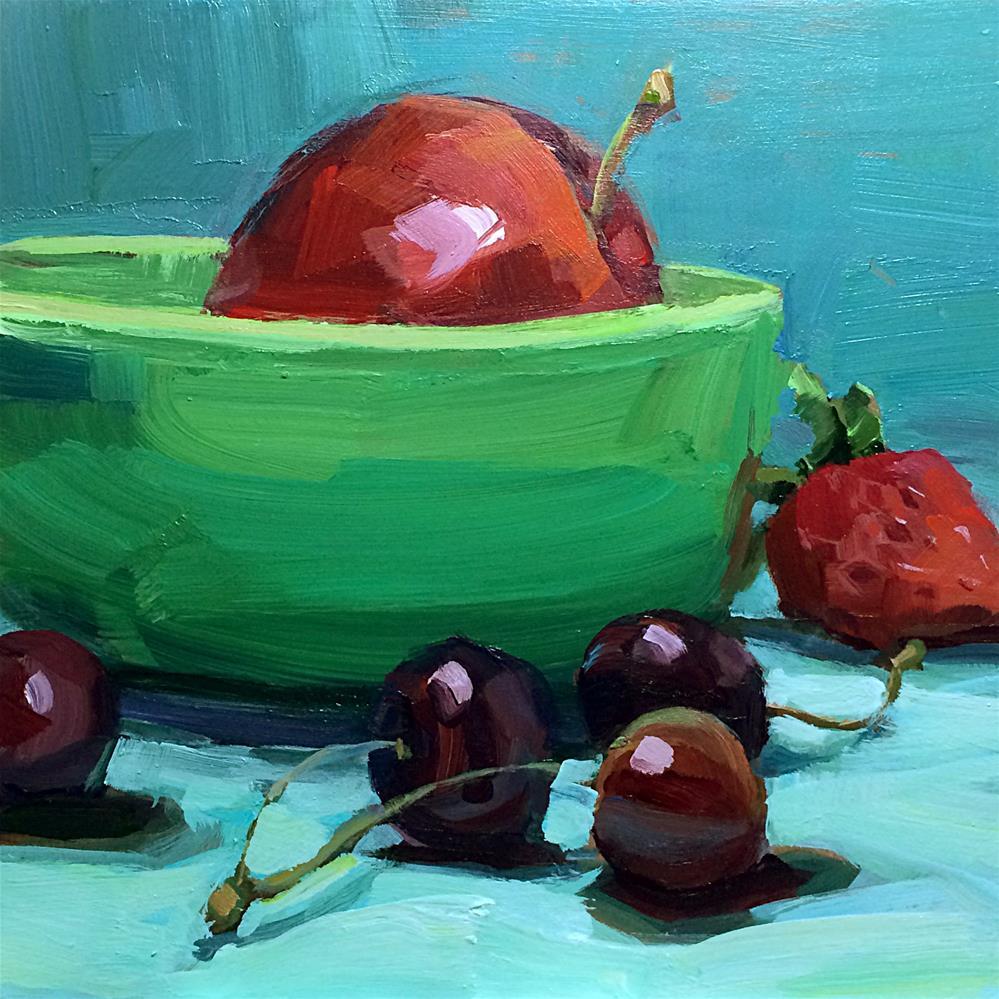 """""""Green Bowl and Apple"""" original fine art by Patti Mollica"""