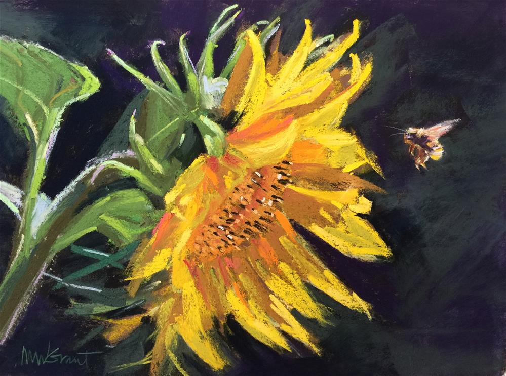 """Sunflower and Bumblebee"" original fine art by Michelle Wells Grant"