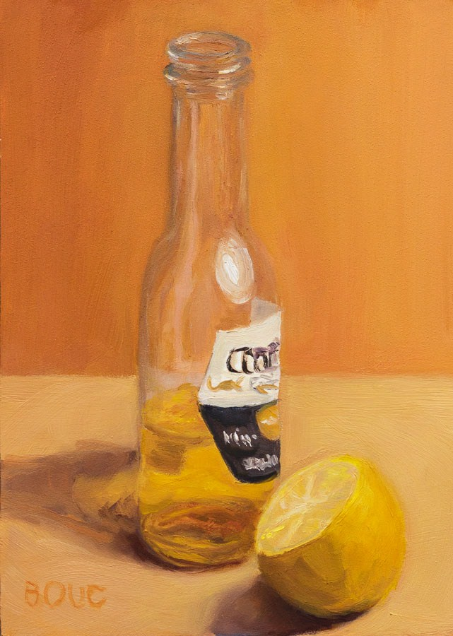"""After the Party Cerveza and Lemon"" original fine art by Jana Bouc"