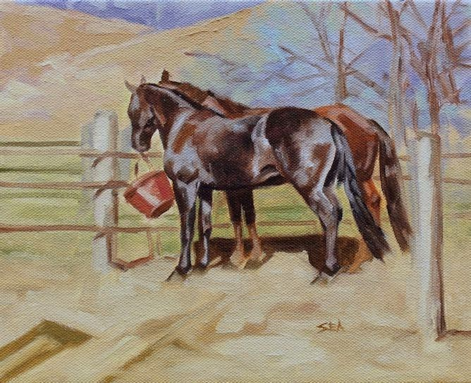"""The Red Bucket"" original fine art by Susan Ashmore"