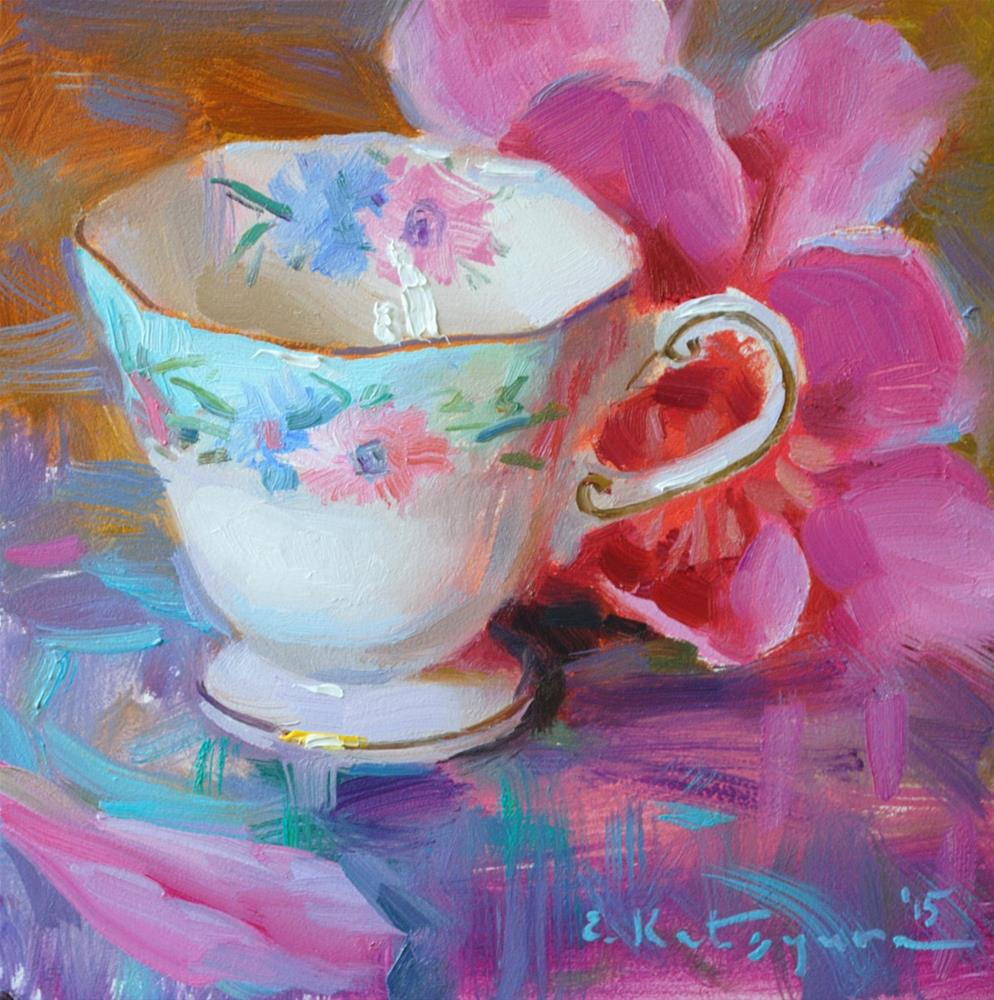 """Teacup on Pink"" original fine art by Elena Katsyura"