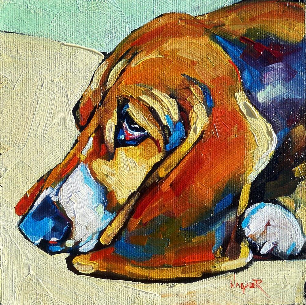 """COLORFUL BASSET HOUND by OLGA WAGNER"" original fine art by Olga Wagner"