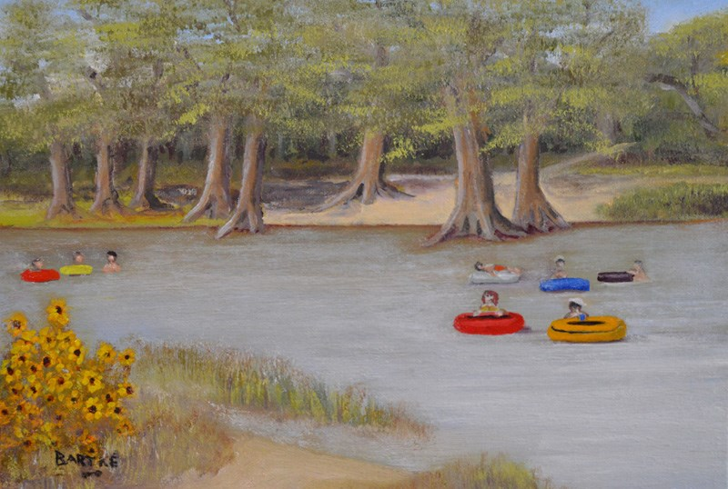 """Tubin' the Frio"" original fine art by Janice Bartke Thompson"