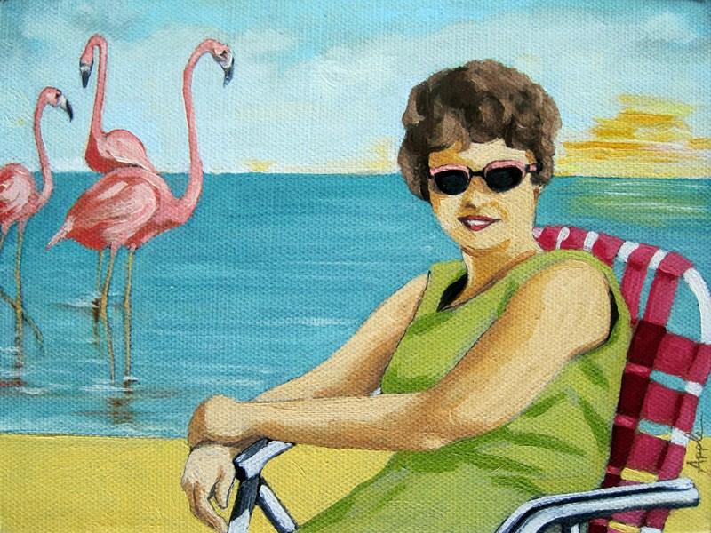 """Flamingo Beach - figurative oil painting"" original fine art by Linda Apple"