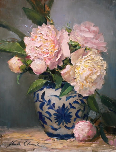 """Peonies in Blue and White"" original fine art by Justin Clements"