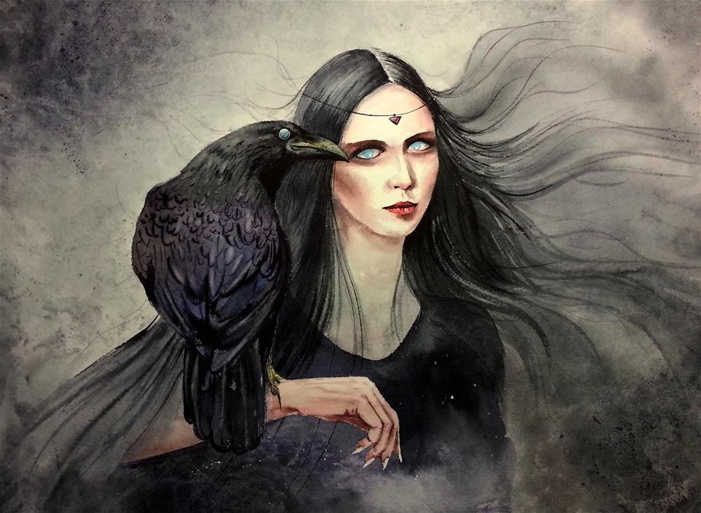 """Raven Witch - Halloween "" original fine art by Olga Beliaeva"