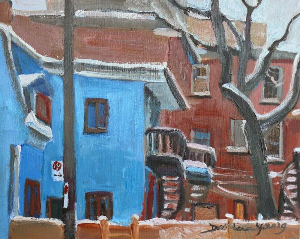 """803 Montreal The Blue House,8x10,oil"" original fine art by Darlene Young"