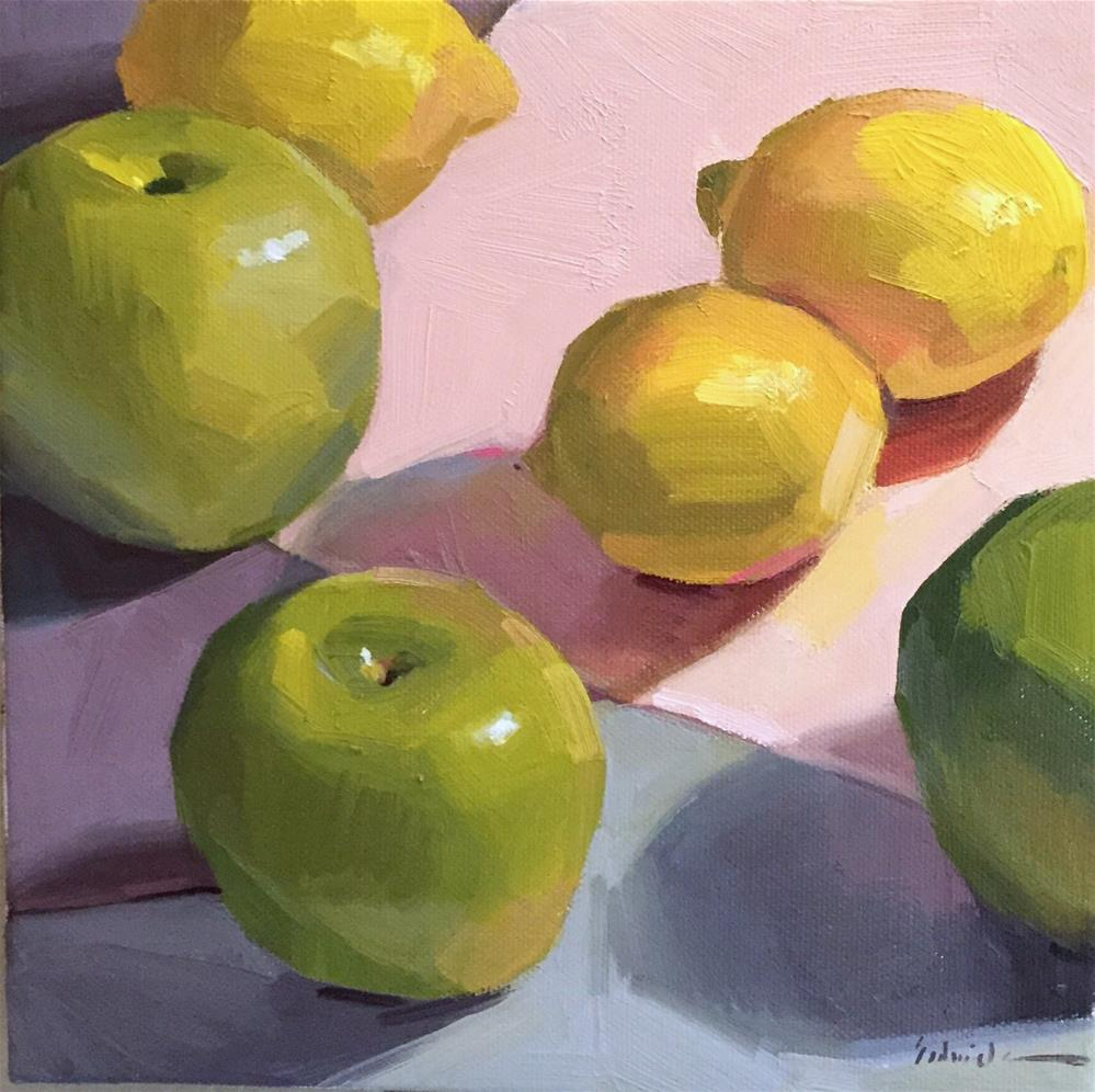 """Applescape: A One Dollar Auction!"" original fine art by Sarah Sedwick"
