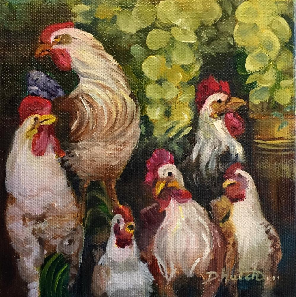 """Six Roosters in a Window"" original fine art by Diane Hutchinson"