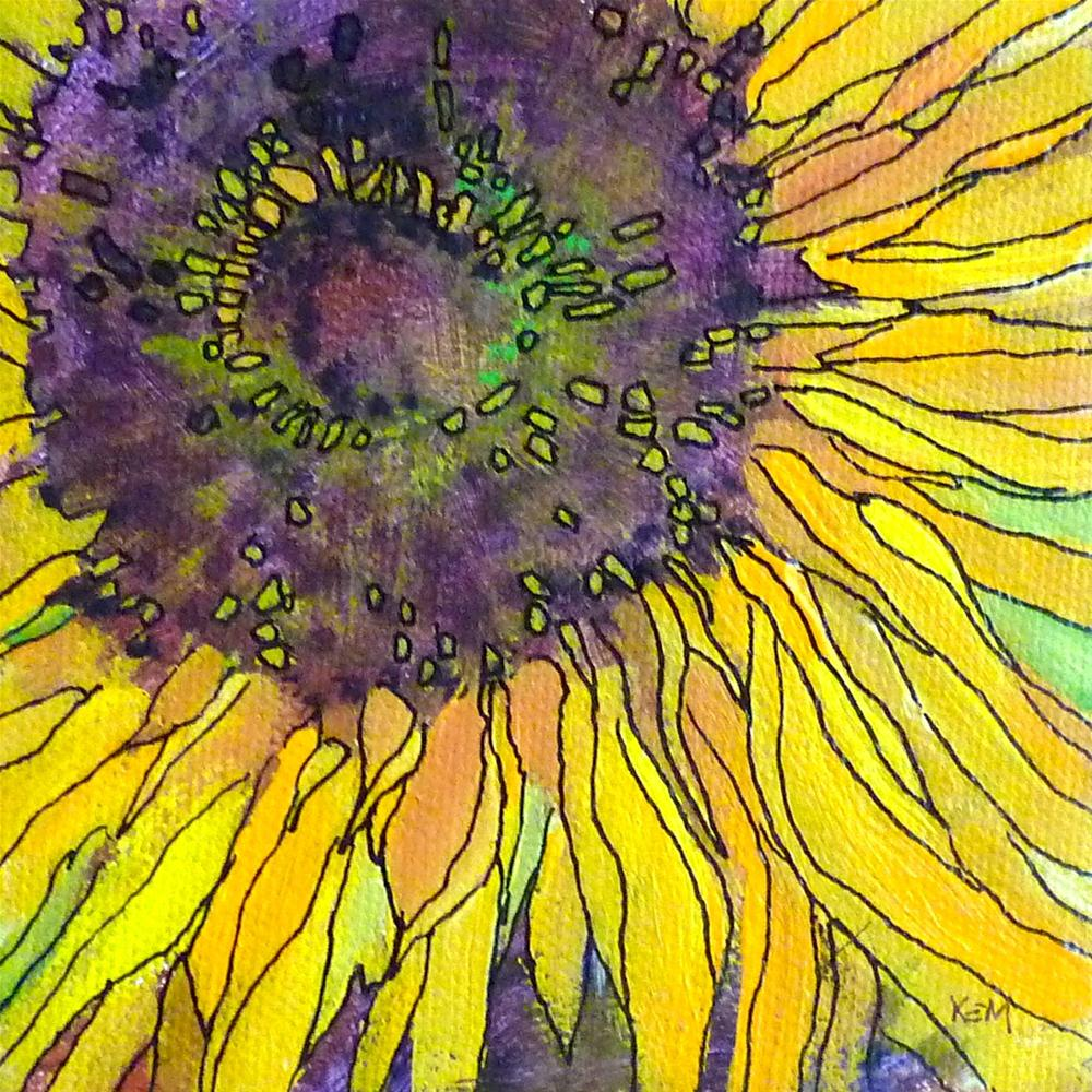 """Summer Reflections and A New Acrylic and Ink Sunflower"" original fine art by Karen Margulis"