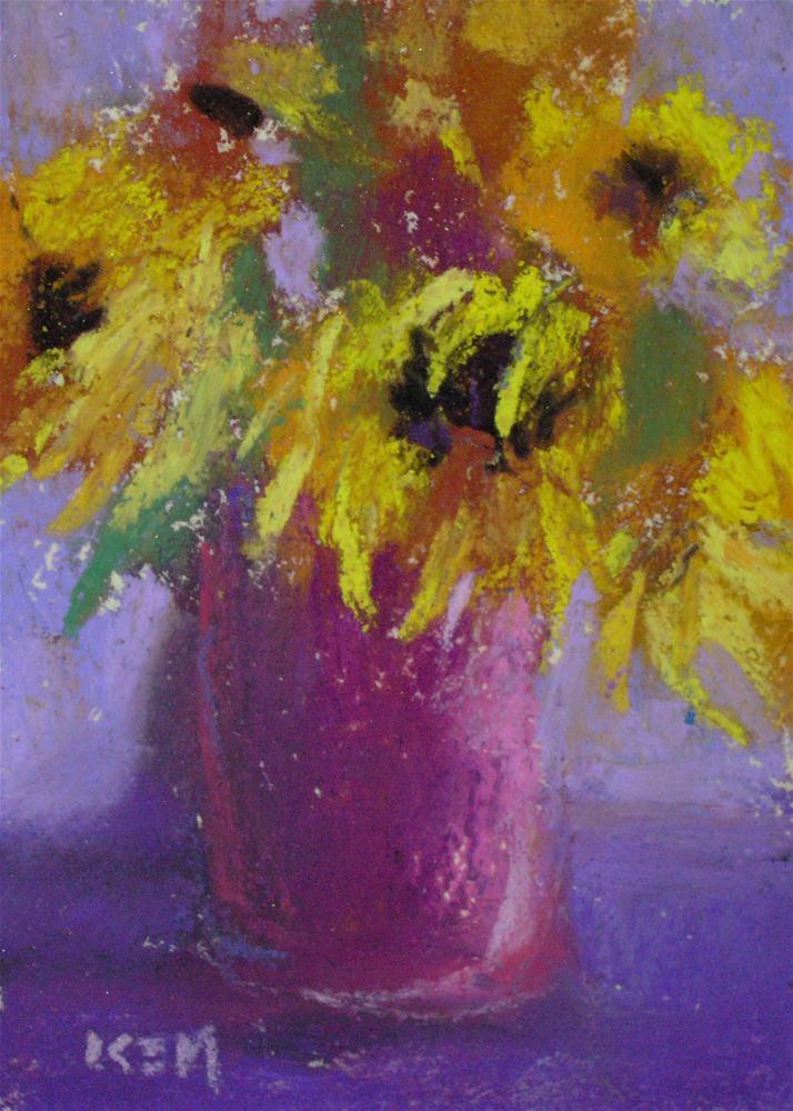 """Sunflowers on Violet"" original fine art by Karen Margulis"