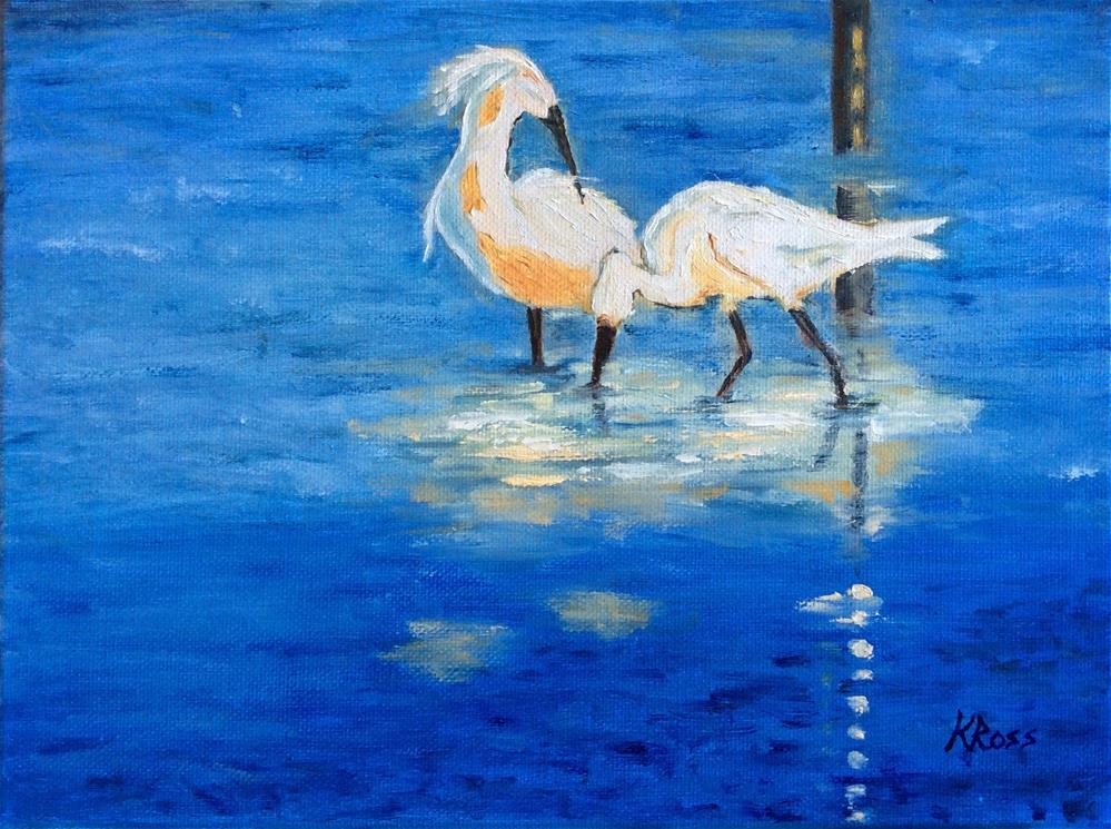 """Feeding at sunset"" original fine art by Kathryn Ross"