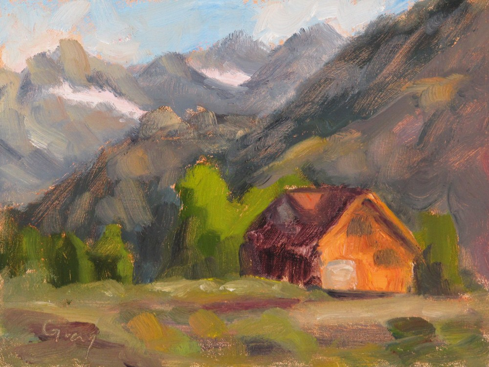 """Wood Cabin in the Sierras"" original fine art by Naomi Gray"