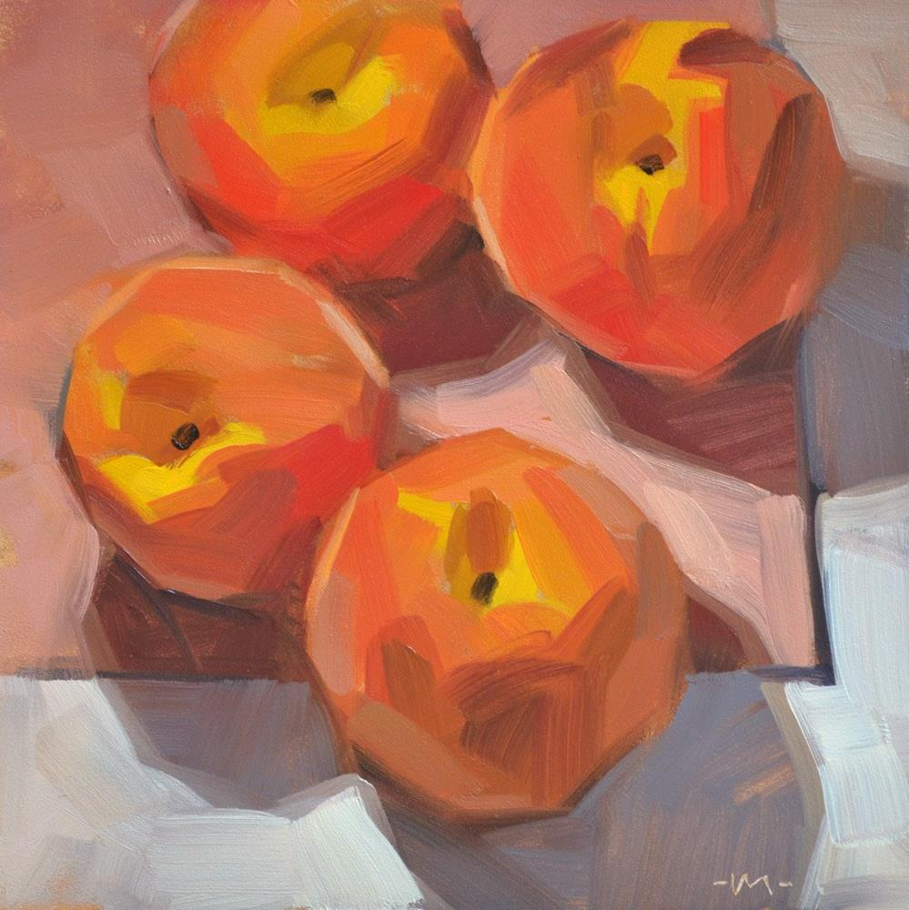 """Peaching on the Corner"" original fine art by Carol Marine"