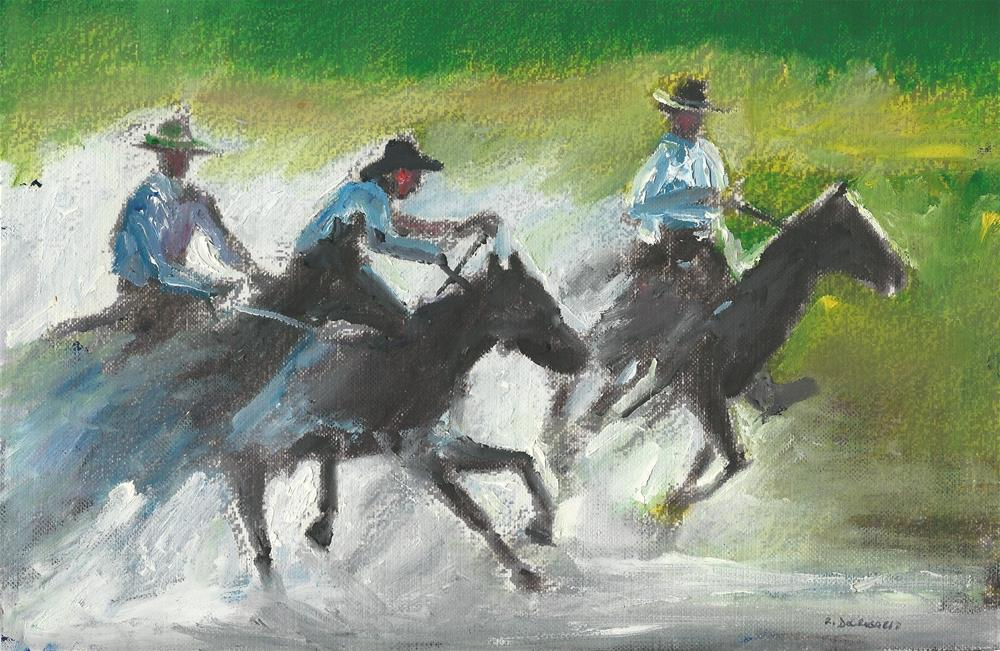 """The Riders in Action (6.5 x 10 Oil on canvas sheet - no frame)"" original fine art by Ramon DelRosario"