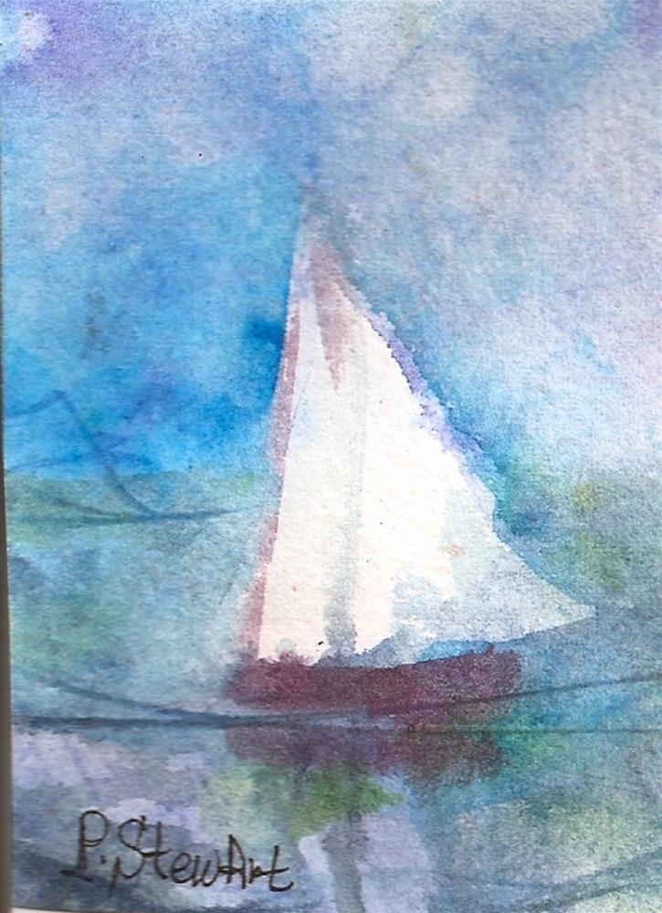 """ACEO, Sailing in the Fog Watercolor on 140# paper, Original Art, OOAK"" original fine art by Penny Lee StewArt"