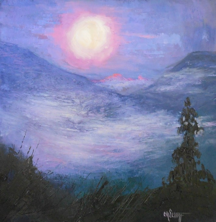 """Mountain Painting, Daily Painting, Small Oil Painting, Morning Mist by Carol Schiff, 12x12x1.5 Ori"" original fine art by Carol Schiff"