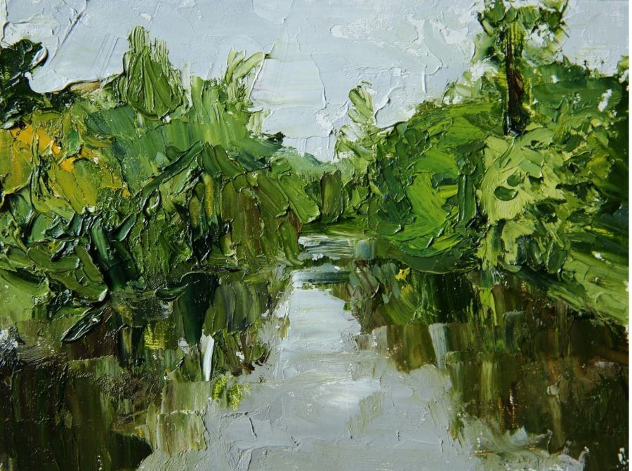 """Leafy Lake"" original fine art by Jethro Knight"