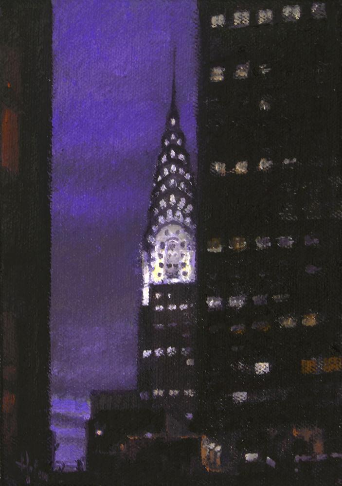 """The Chrysler Building at Dusk"" original fine art by Ski Holm"