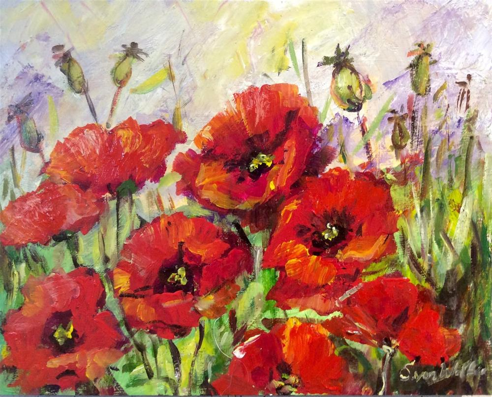 """Poppies dance"" original fine art by Sonia von Walter"