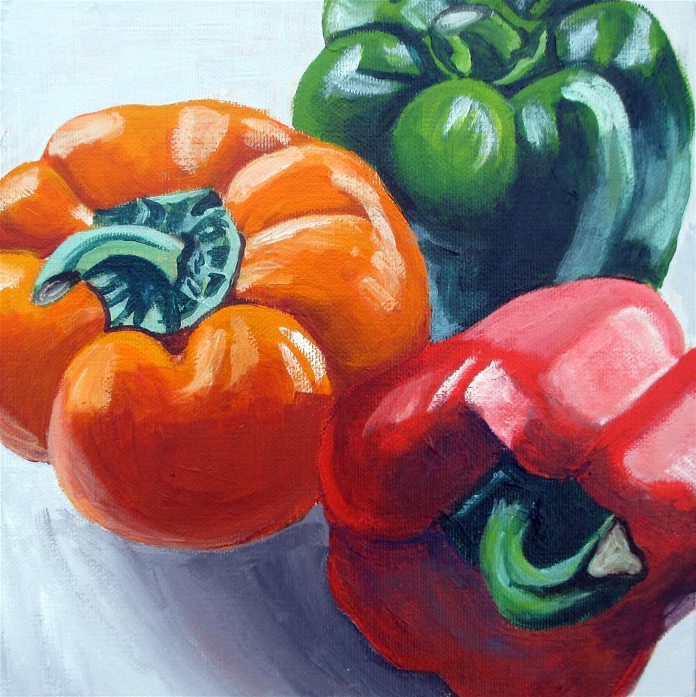 """3 Pepper Still-life"" original fine art by Lisa Wiertel"