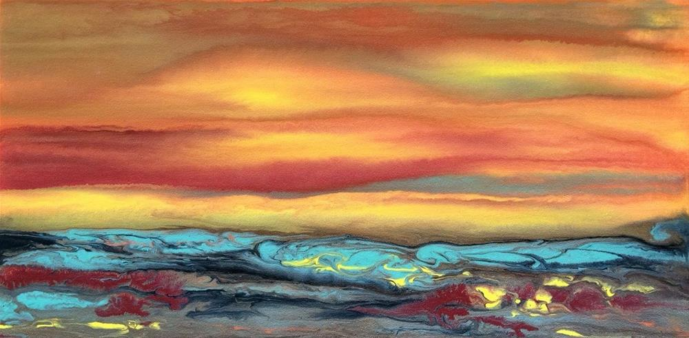 """Contemporary Landscape Art ,Abstract Sunset Painting Blazing Sky Reflected IX by Colorado Contempo"" original fine art by Kimberly Conrad"