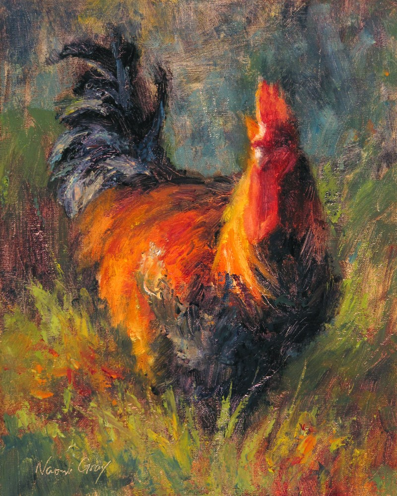 """Leo the Rooster No. 3"" original fine art by Naomi Gray"
