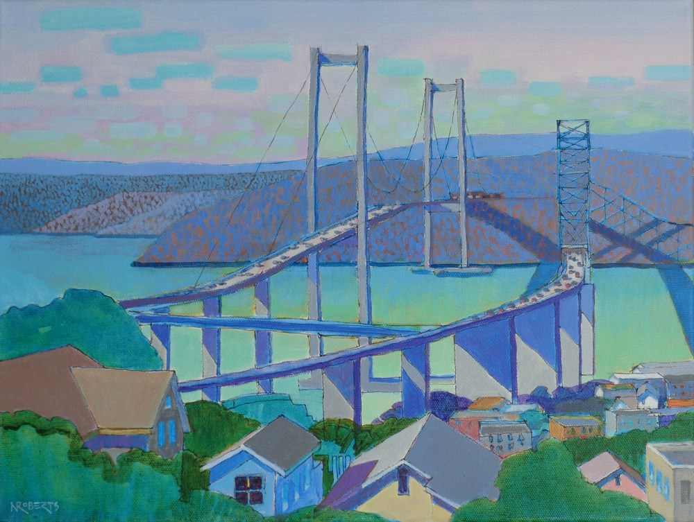 """Bridge Vista, Crockett"" original fine art by Nancy Roberts"