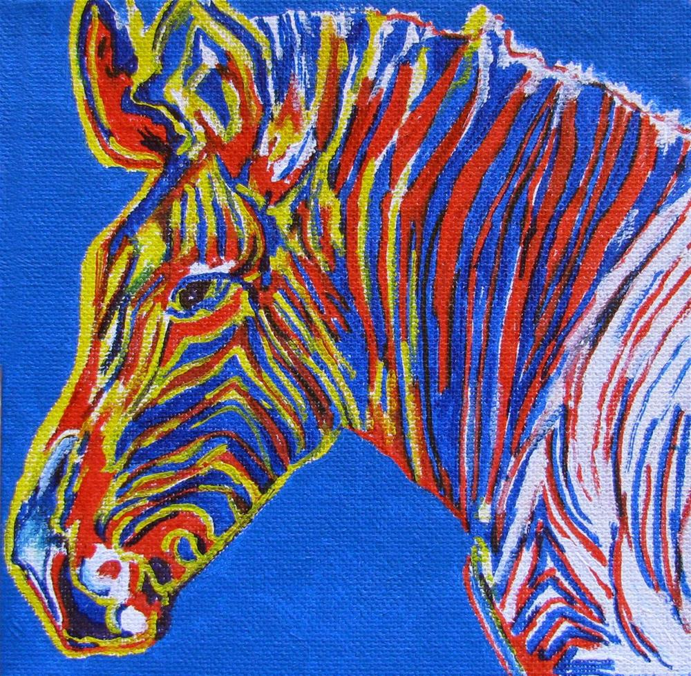 """Warhol's Zebra - a variation"" original fine art by Nan Johnson"