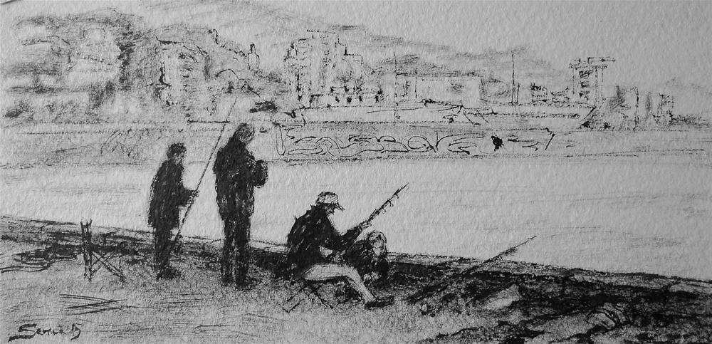 """Fishermen"" original fine art by Elena Senina"