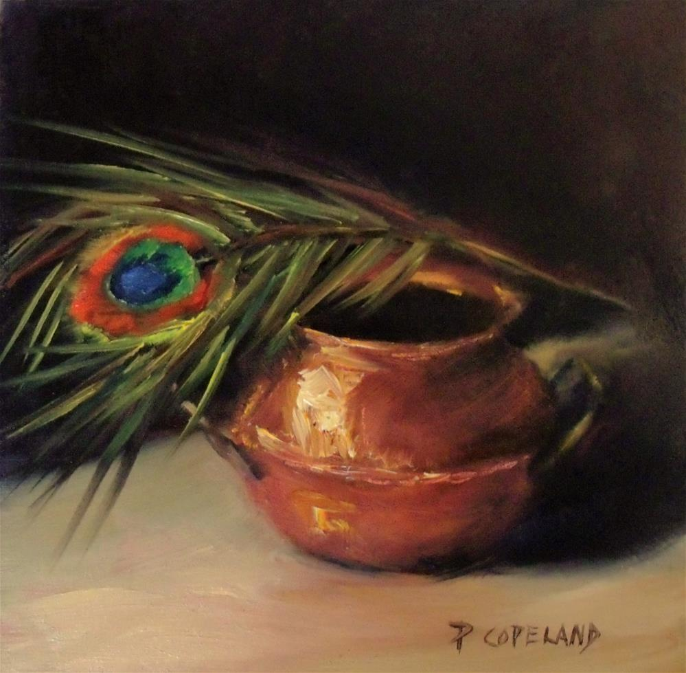 """Copper and Peacock Feather"" original fine art by Pamela H. Copeland"