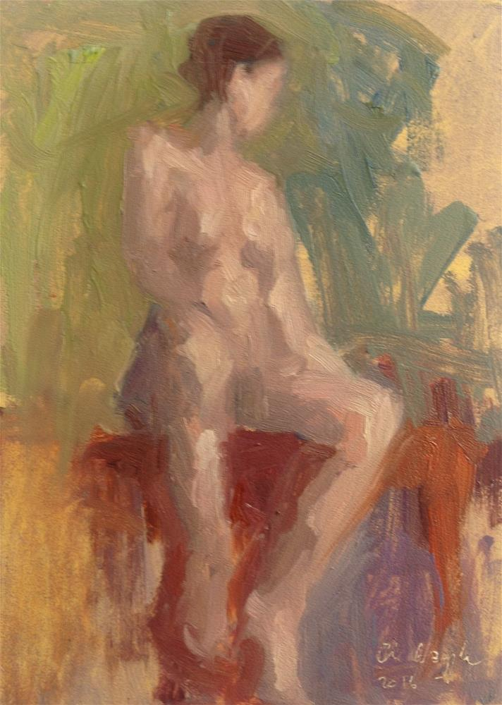 """ Seated (color study )"" original fine art by Christine Bayle"