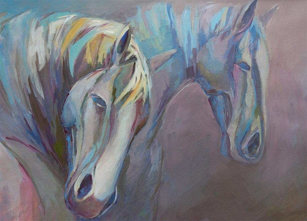 """Two horses"" original fine art by Olga Touboltseva-Lefort"