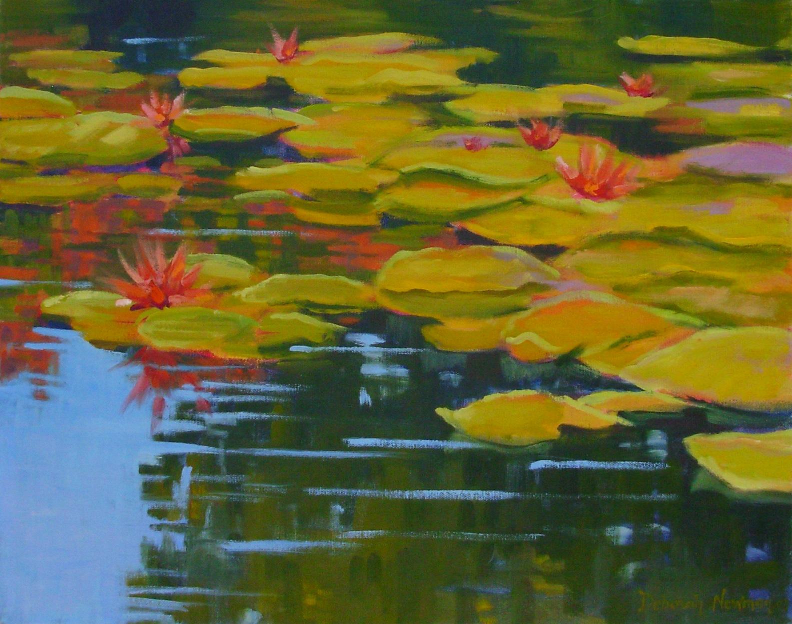 """Reflections on a pond"" original fine art by Deborah Newman"