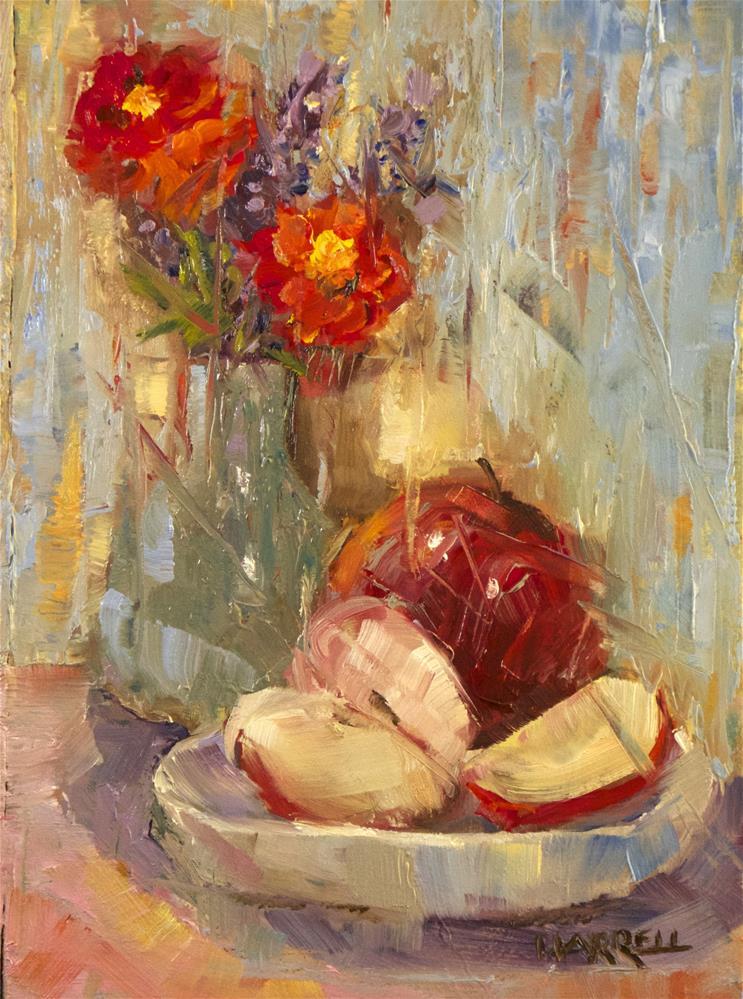 """Apples with Zinneas"" original fine art by Sue Harrell"