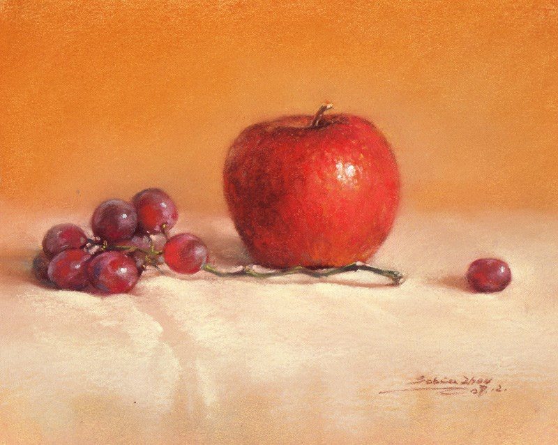 """Still Life with Apple and Grapes"" original fine art by Sabrina Zhou"