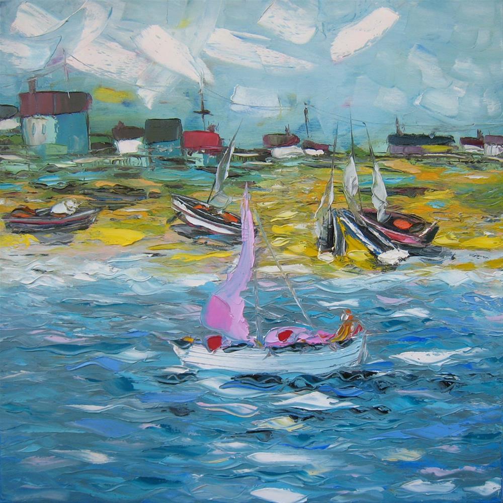 """Boats in the harbor"" original fine art by Elena Lunetskaya"