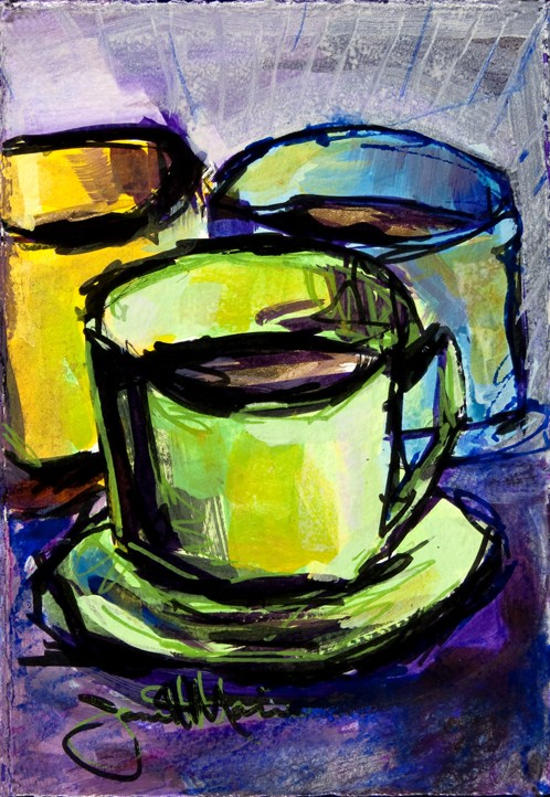 """A Trace Coffee"" original fine art by - JanettMarie"