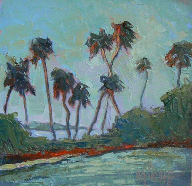 """Daily Painting, Blazing Palms 6x6, oil"" original fine art by Carol Schiff"