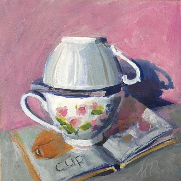 """""""Cup and Book"""" original fine art by Mary Pargas"""