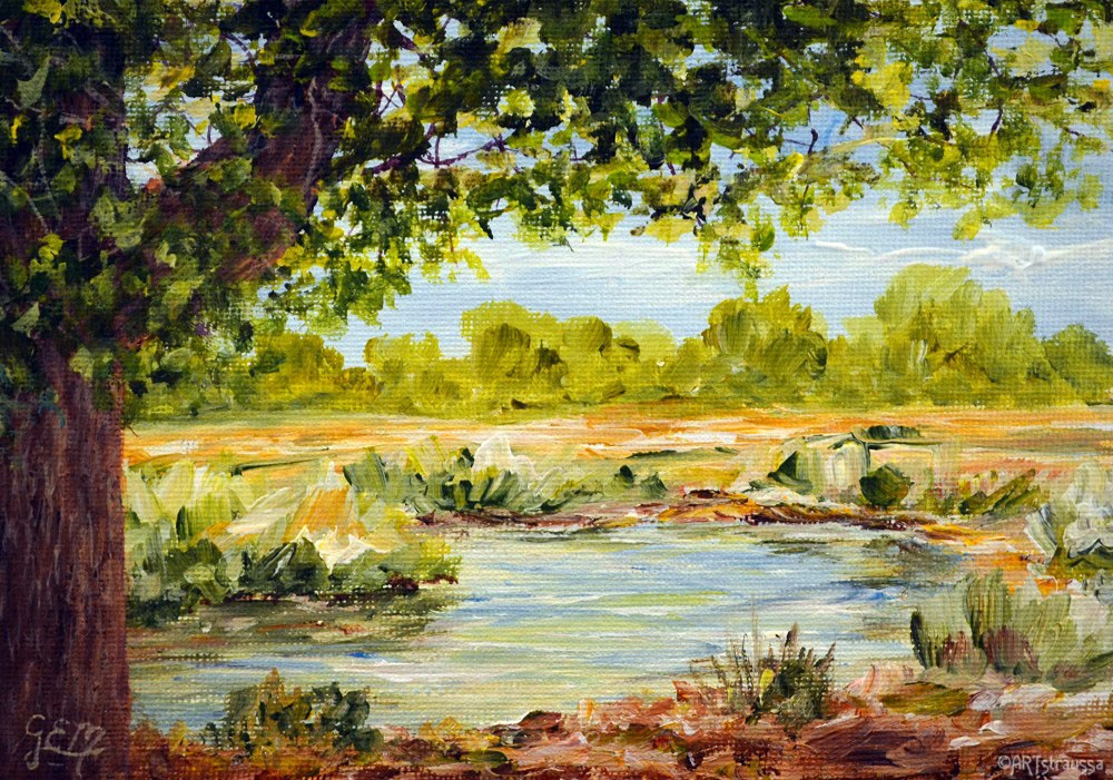 """Amesbury Stream"" original fine art by Gloria Ester"