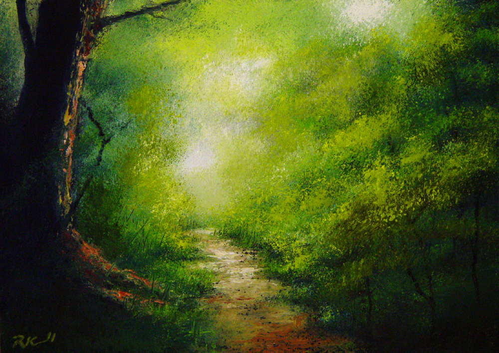 """Misty Path"" original fine art by Bob Kimball"
