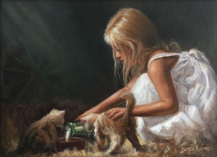 """""""Barn kittens"""" original fine art by Denise Racine"""