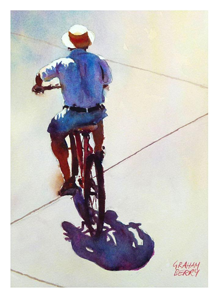 """Cycling in the sun."" original fine art by Graham Berry"