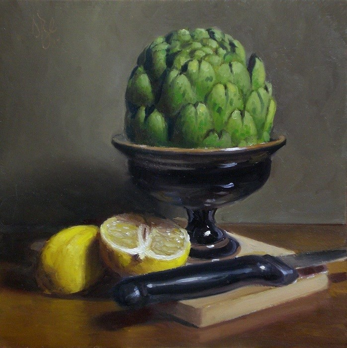 """Artichoke and Lemon"" original fine art by Debra Becks Cooper"