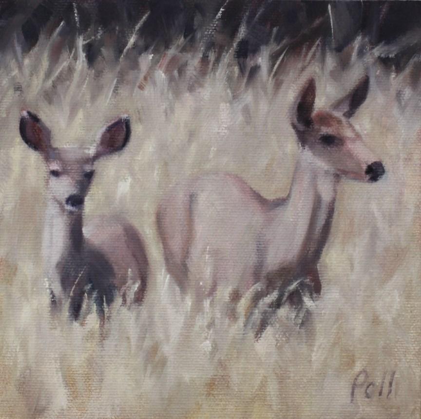"""""""Deer in Tall Grass (framed)"""" original fine art by Pamela Poll"""