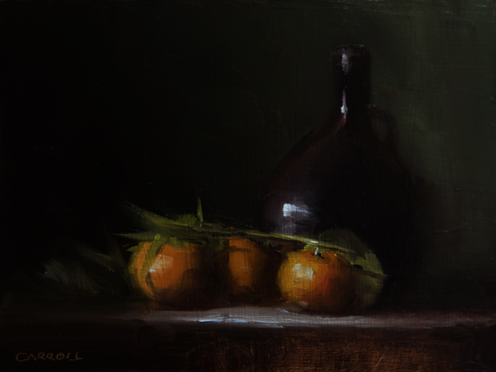 """Bottle with Clementine"" original fine art by Neil Carroll"
